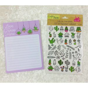 Other - Succulent Notepad & Cactus Transfers Stickers Set